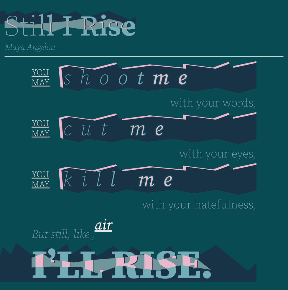 A poem written stylistically with different typography.